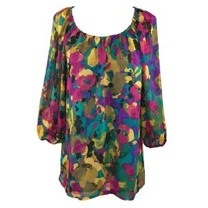 Colorful Peasant Loose Fit Blouse XS/S